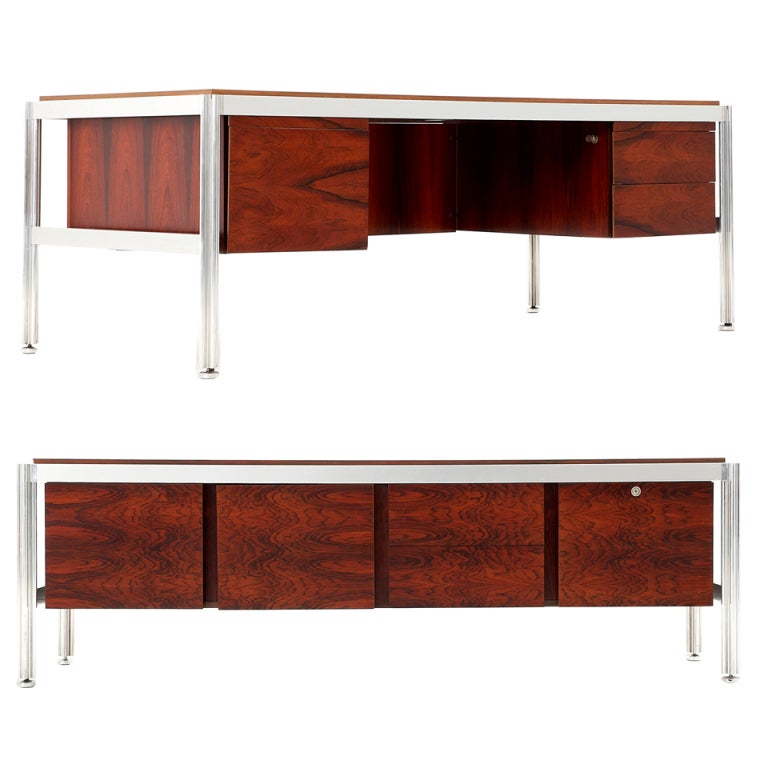 Rosewood and aluminum office set for mobilier national for 13 a table paris