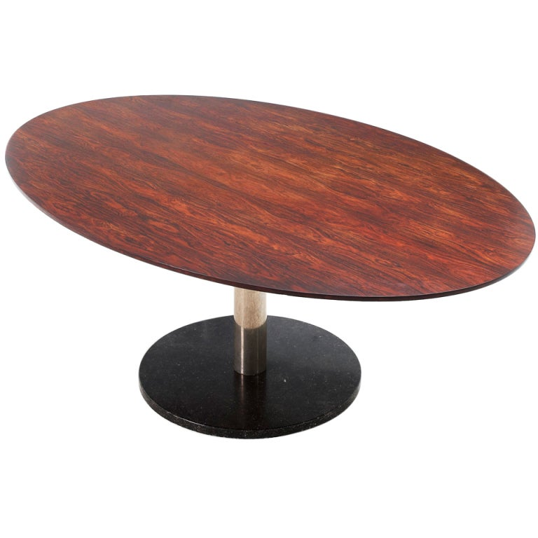Distressed oval coffee table - Superb Oval Rosewood Table With Inox And Marble Base By Alfred