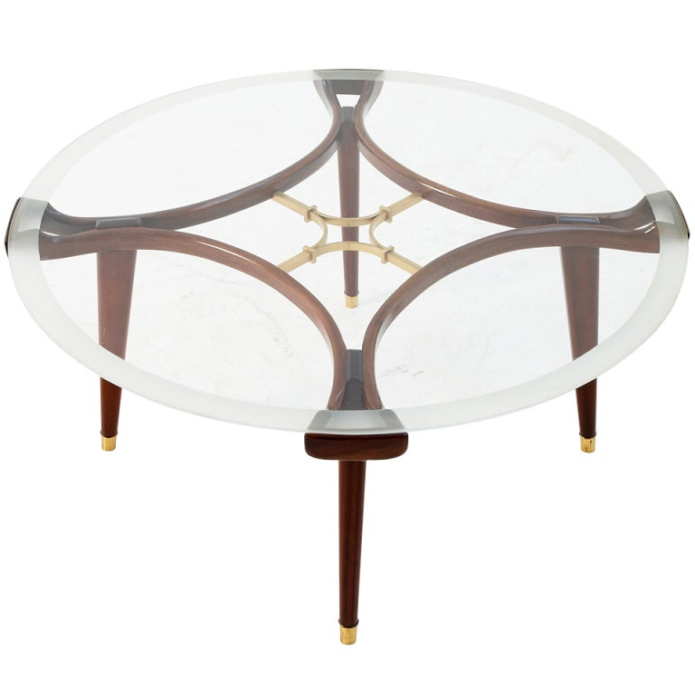 Round Italian Coffee Table With Glass Top And Brass Details At 1stdibs