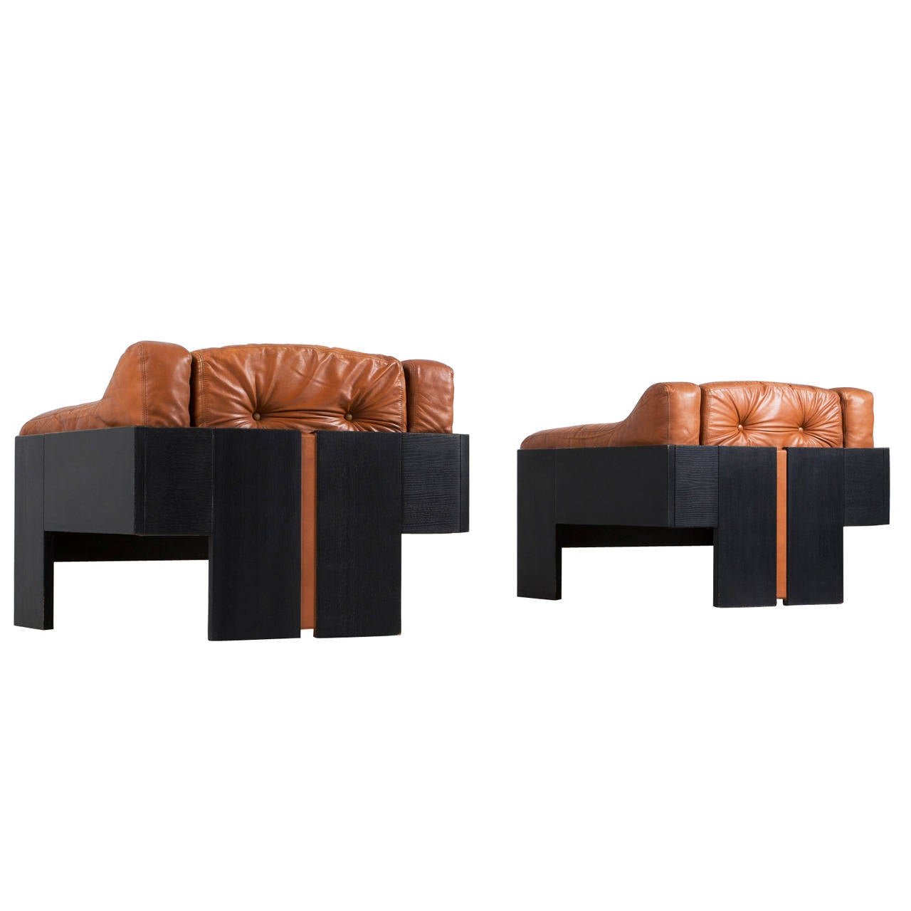 Of four chairs in oak and patinated cognac leather for sale at 1stdibs - Set Of Two Cognac Leather Lounge Chairs By Claudio Salocchi 1
