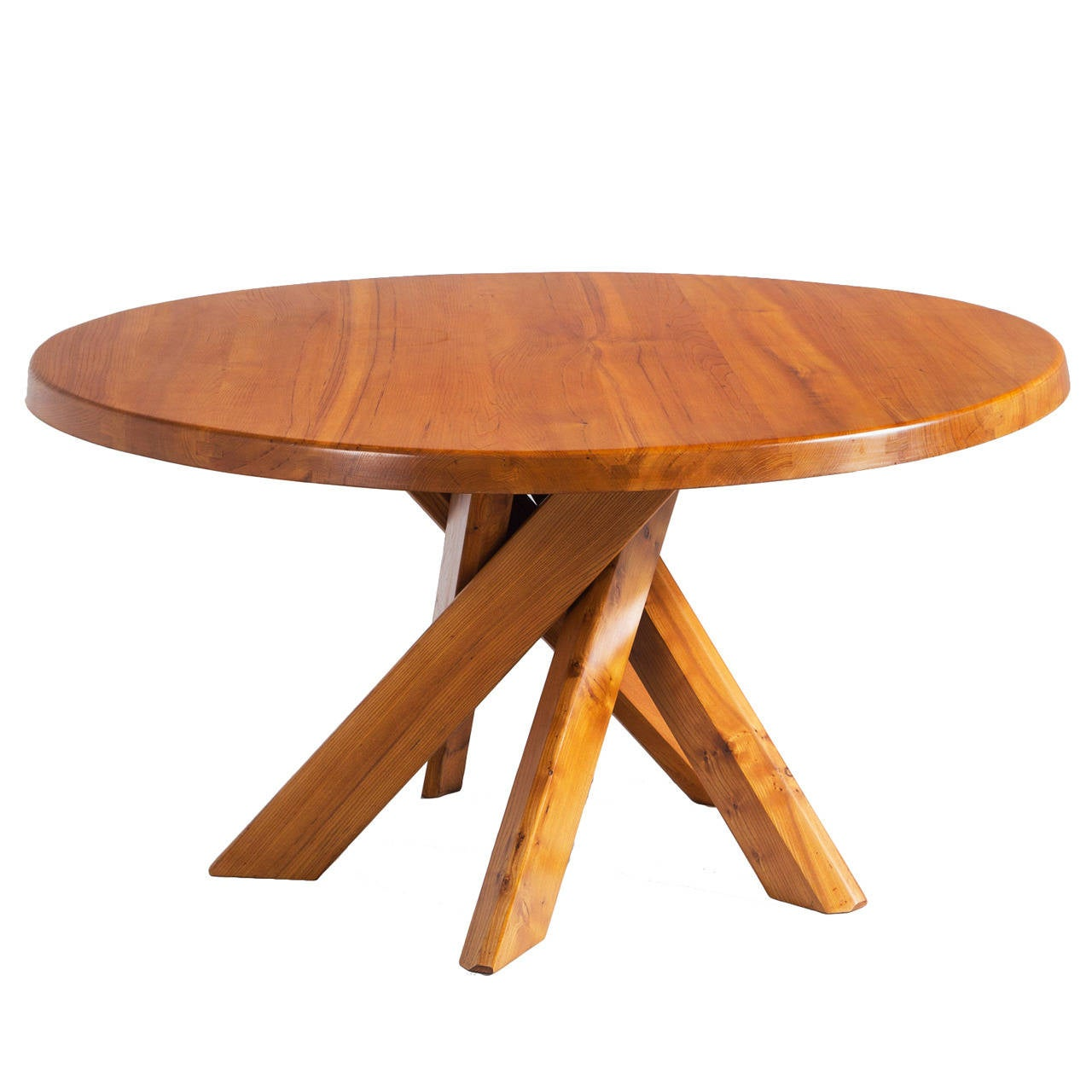 Well made round pedestal table with 5 crossed legs by pierre chapo at 1stdibs - Crossed leg dining table ...