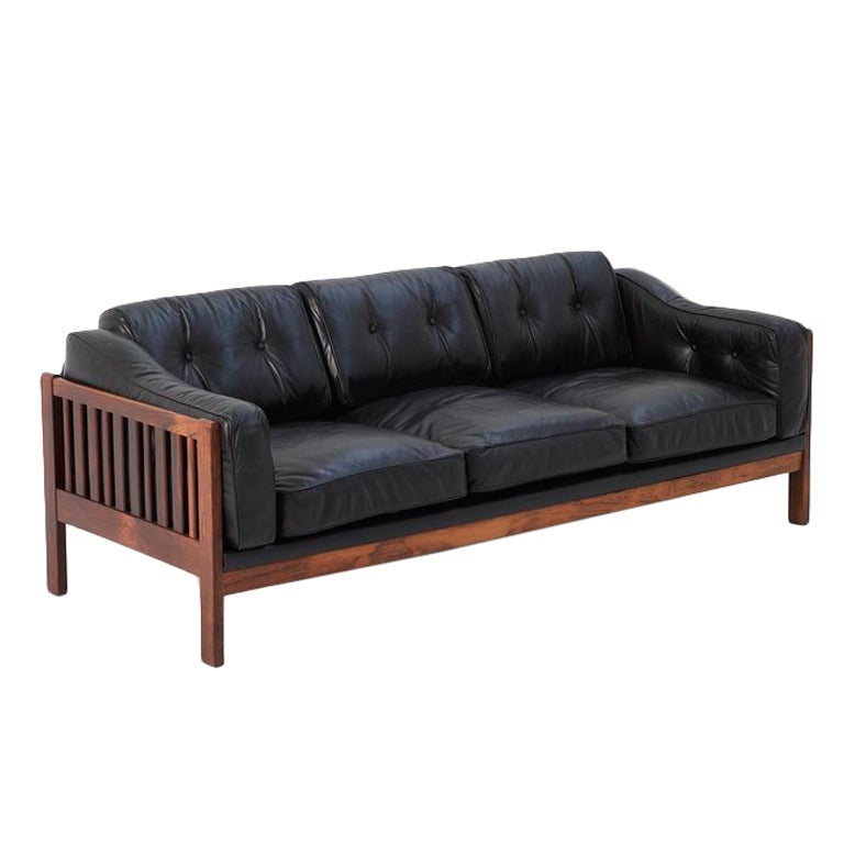 Very Beautiful Solid Rosewood Sofa With Wonderfull Black Leather At 1stdibs