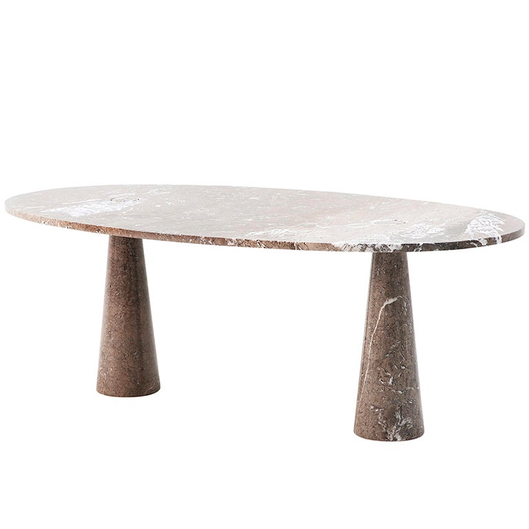 Oval Marble Dining Room Table By Angelo Mangiarotti By Tisettanta At