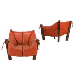Percival Lafer Rare Pair of Brazilian Lounge Chairs in Orange Leather