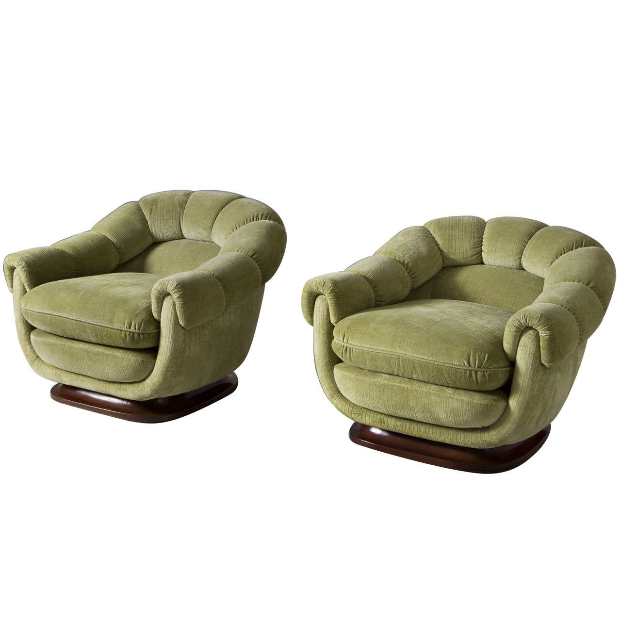 Two Elegant Club Chairs With Round Shapes For Sale At 1stdibs