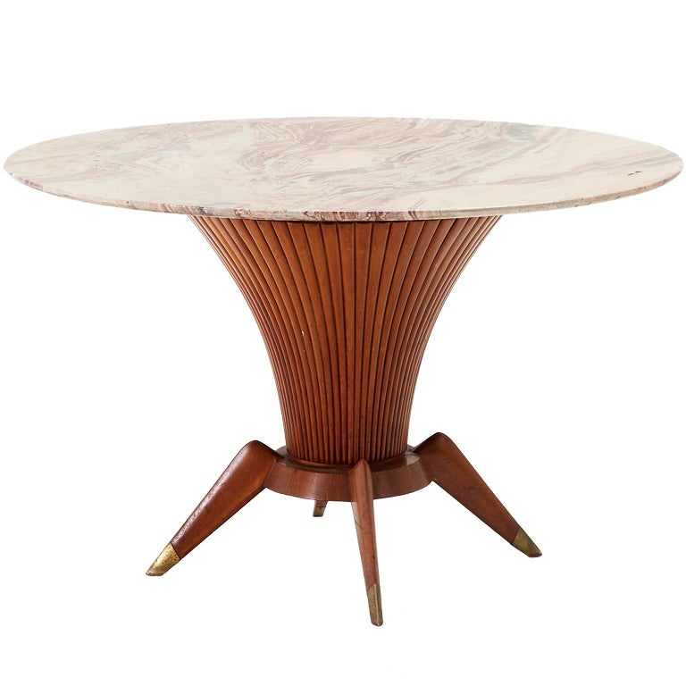 Unique Table Base: Unique Wooden Table Base With Detailed Marble Top And