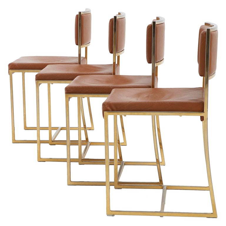 4 Dining Chairs In The Manner Of Willy Rizzo Brass And