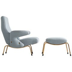 "Arflex ""Delfino"" Lounge Chair and Ottoman by Erberto Carboni"