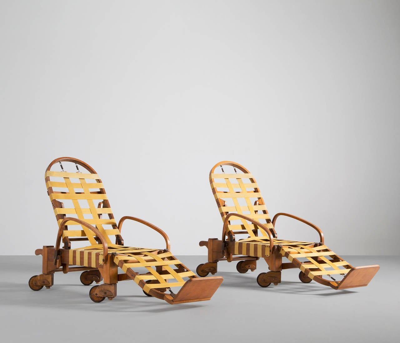 1940s set of two wooden chaise longues for sale at 1stdibs for Chaise wooden