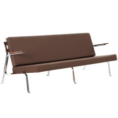 Chrome base 3 seater sofa with new fabric and wooden details