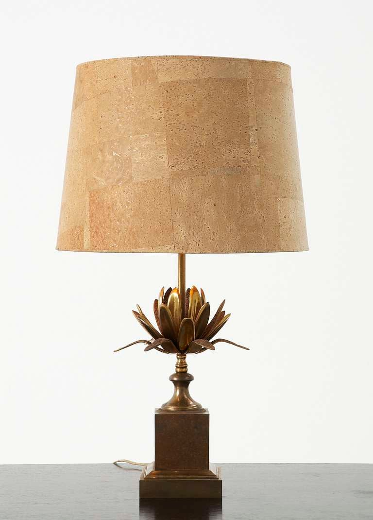 Very rare french 39 maison charles 39 bronze table lamp with for Wine cork lampshade