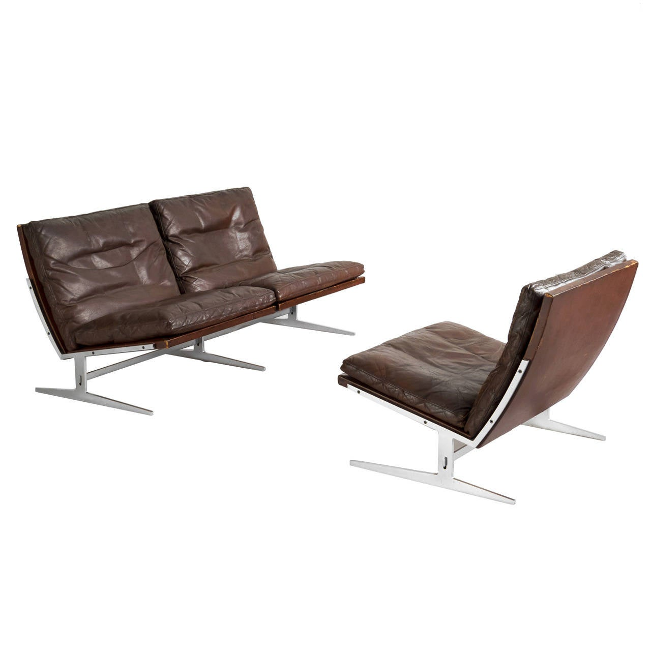 Twoseat Sofa And Lounge Chair Set By Fabricius And Kastholm 1