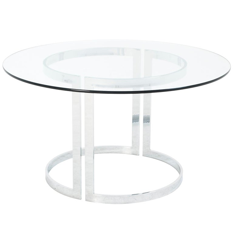 Round Italian Dining Table With Sculptural Chrome Base And