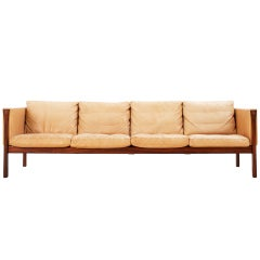 Wonderful 4 Seater Sofa in Natural Cognac Leather and Rosewood by Hans J. Wegner