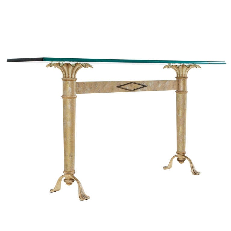 French Wall Sunflower Console Table with Glass Top