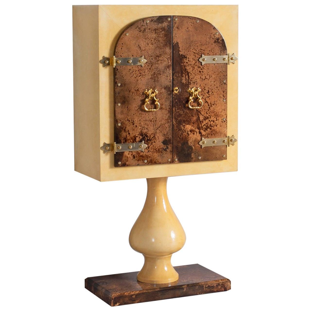 Aldo Tura Lacquered Goatskin Pedestal Bar Cabinet