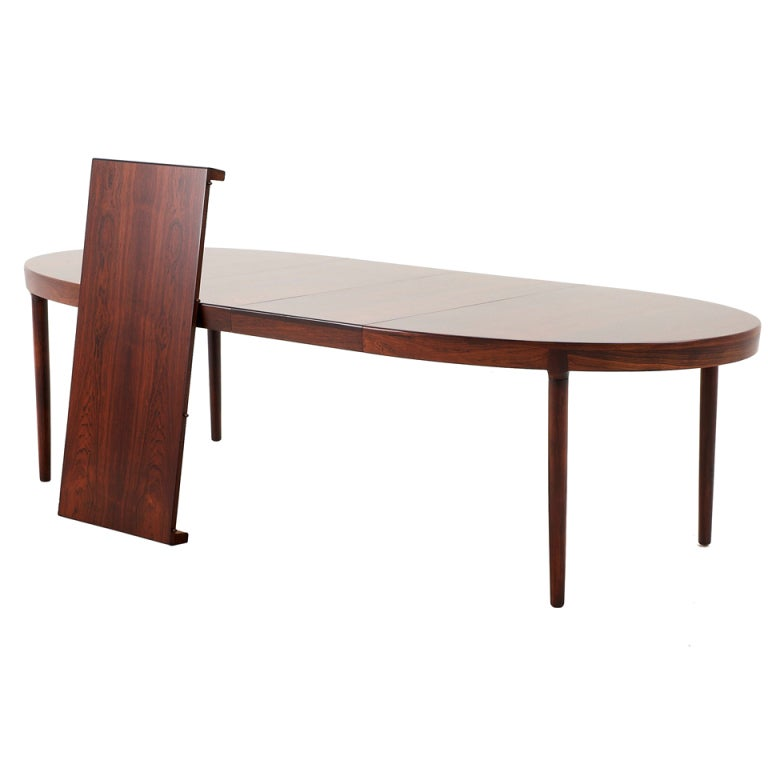 Very large danish rosewood oval dining table with 3 for Dining room tables with leaves built in