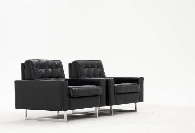 Pair Of Swiss Black Leather Club Chairs With Chrome Sled Base 2
