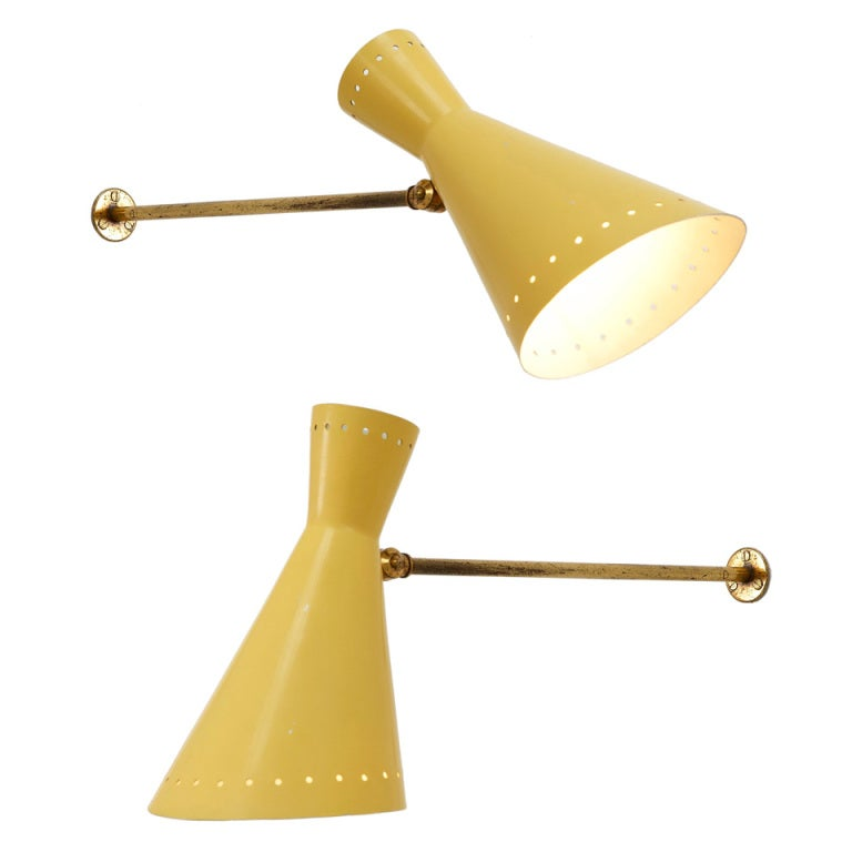 Pair Of 2 Stilnovo Wall Lamps With Adjustable Yellow Enameled Shade And Brass at 1stdibs