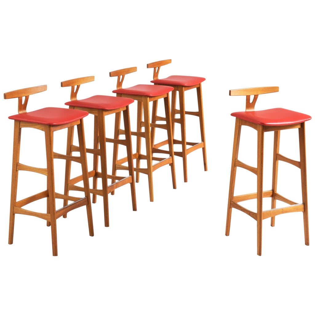 five danish bar stools in teak at 1stdibs