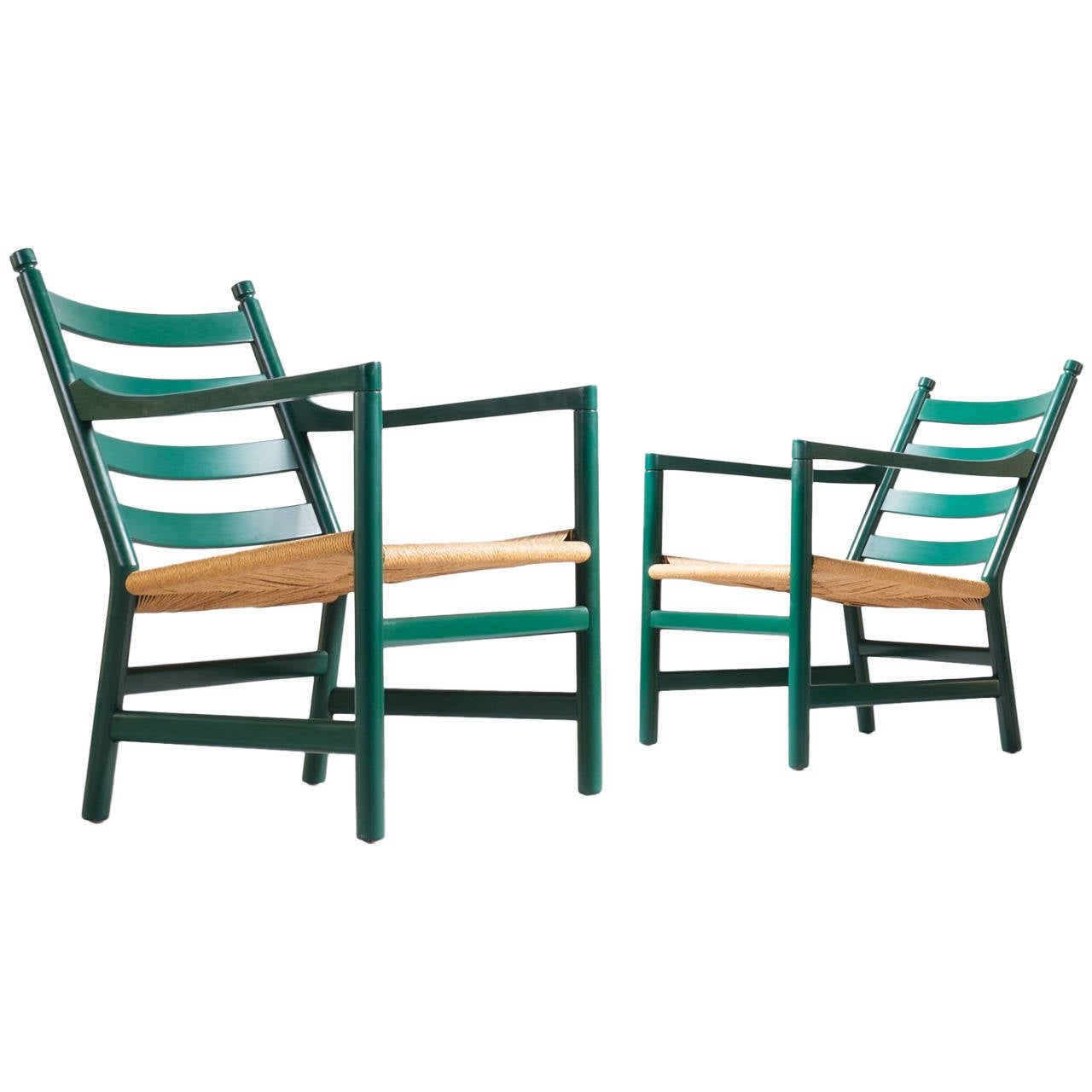 Pair of hans wegner lounge chairs at 1stdibs - Pair Of Two Easy Chairs Ch44 By Hans Wegner For Carl