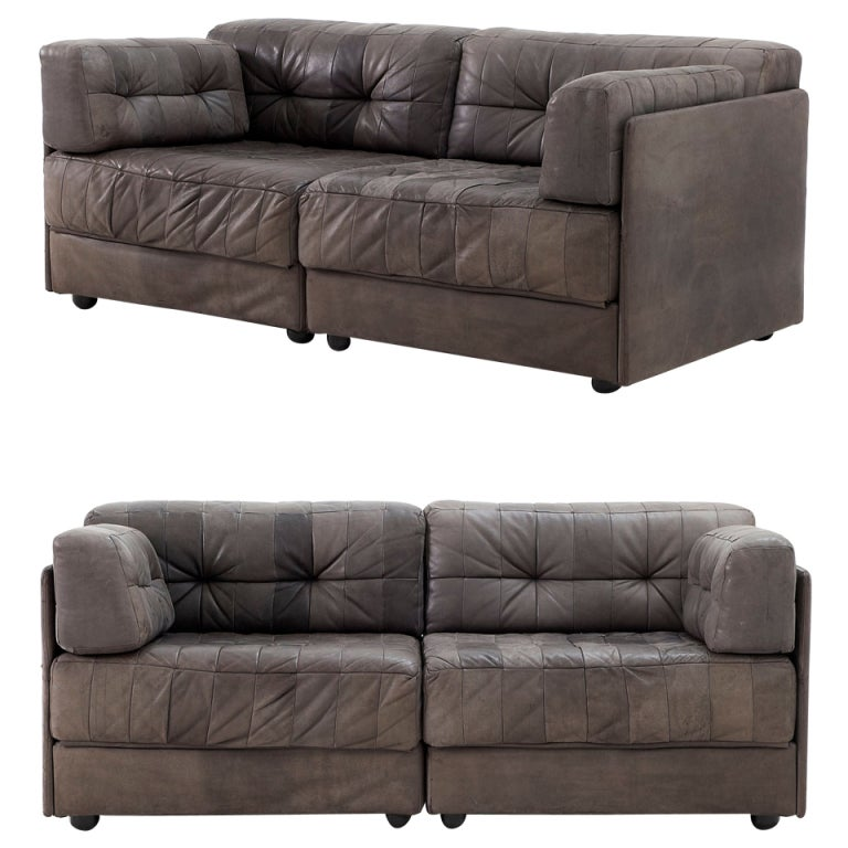 Pair of two exclusive swiss leather patchwork sectional for Exclusive sofa