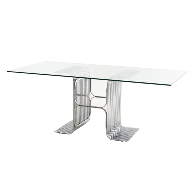 Unique Table Base: Very Unique Shaped Chrome Table Base With Glass Top At 1stdibs