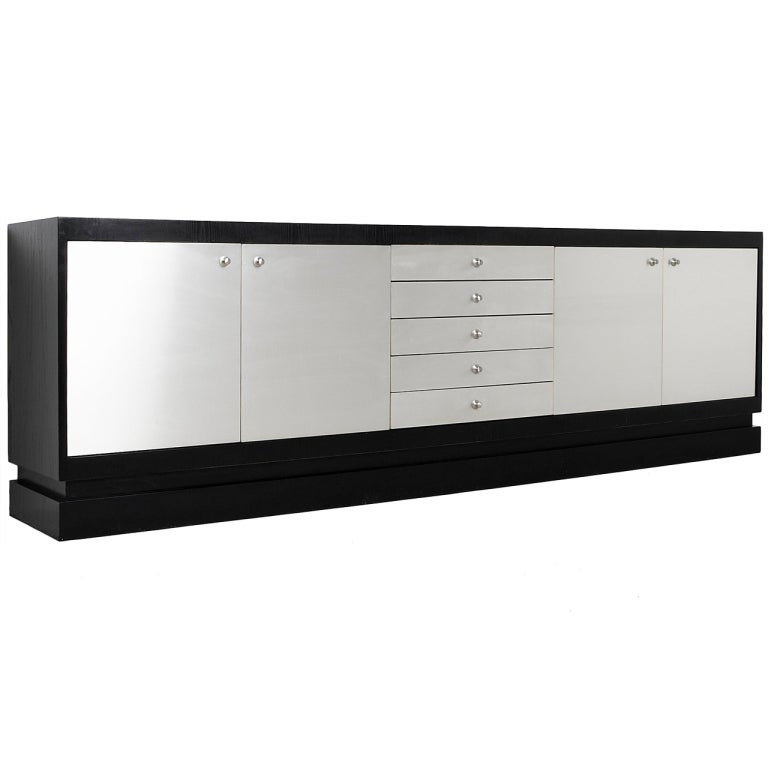 Belgium Black Ebonized Sideboard With Aluminum Laminated