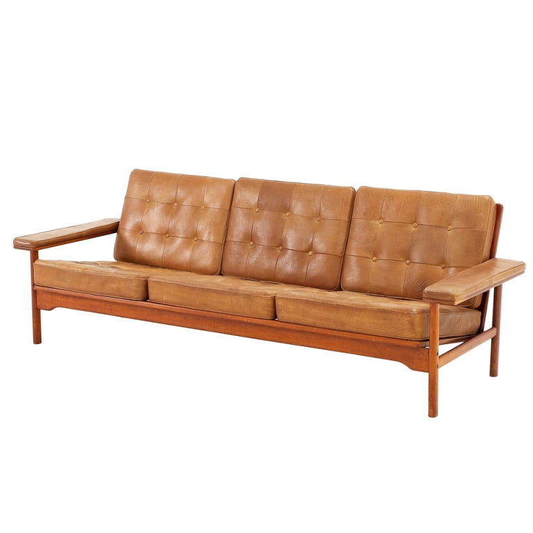 Natural Cognac Leather Tufted Sofa With Wonderful Frame At