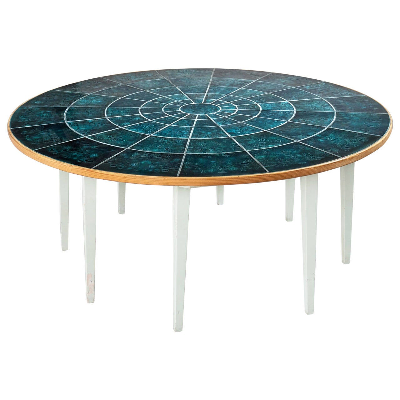 Bj rn wiinblad round dining table with hand painted tiles for Painted dining table