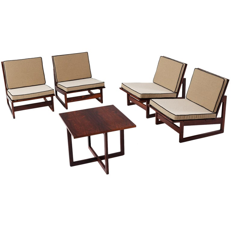 Set Of 4 Danish Rosewood Slipper Lounge Chairs And Table