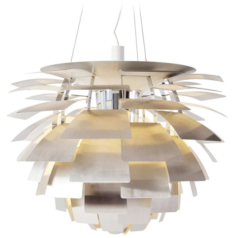 large 33 84cm inox artichoke by poul henningsen for. Black Bedroom Furniture Sets. Home Design Ideas