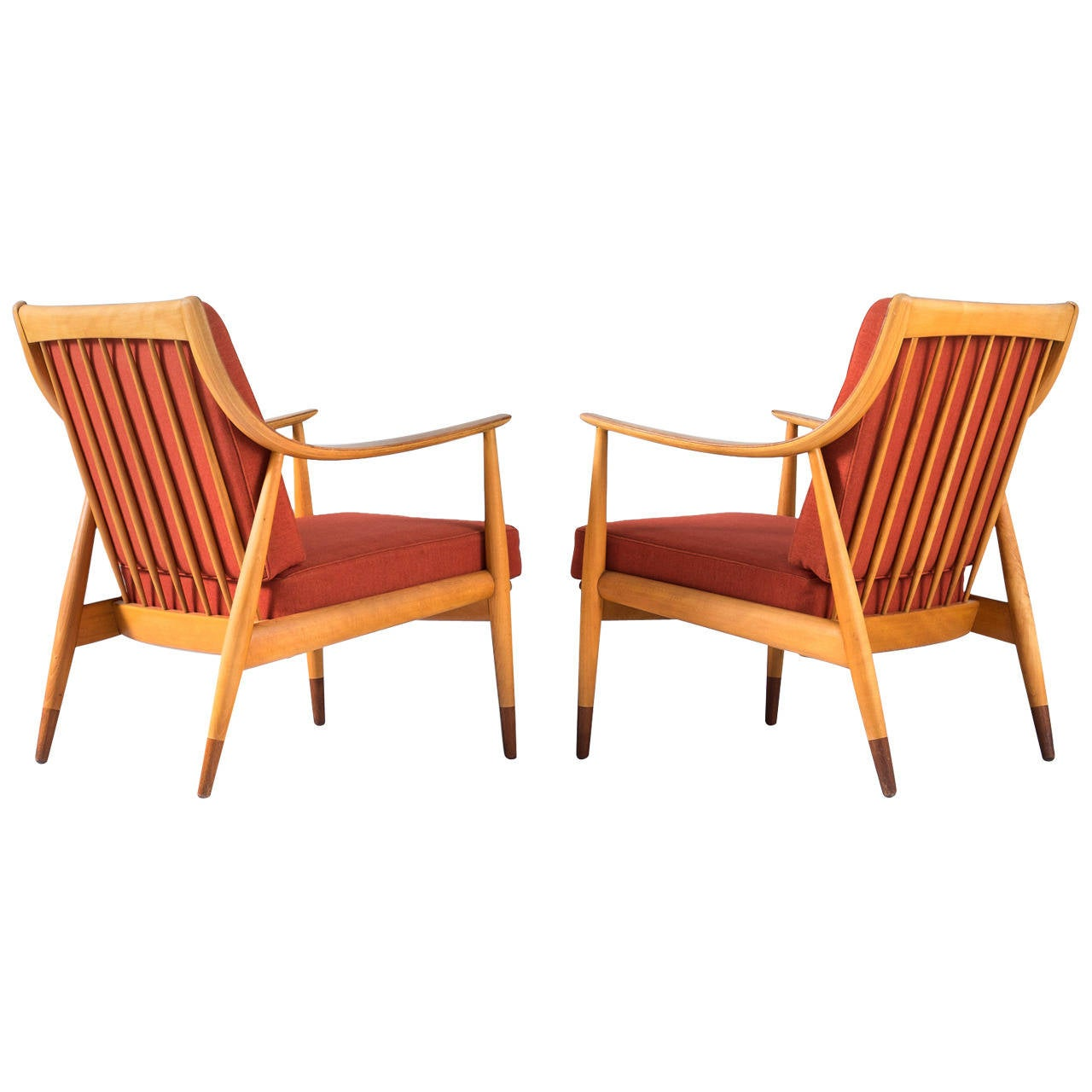 Matching pair of lounge chairs by peter hvidt and orla for Matching lounge furniture