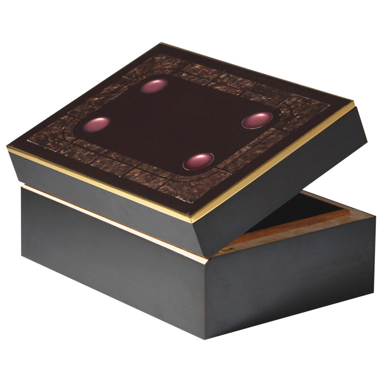 jean claude dresse decorative box with gem stones and japanese lacquer 1 - Decorative Box