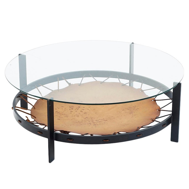 Iron Based Coffee Table With Leather Inlay And Glass Top At 1stdibs