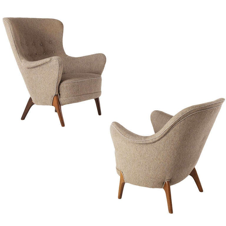 Matching pair of two organic danish lounge chairs at 1stdibs for Matching lounge furniture