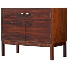 Small Sideboard Made of Rosewood with Brass Details