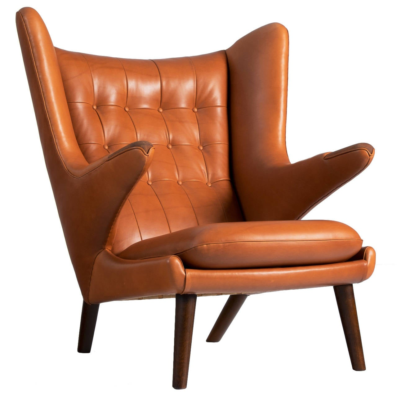 papa bear lounge chair by hans j wegner in cognac leather for sale at 1stdibs. Black Bedroom Furniture Sets. Home Design Ideas