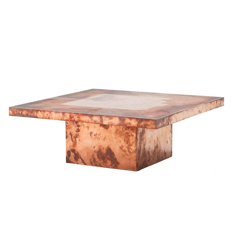 Exclusive Belgium Copper Coffee Table In Style Of Willy Daro At 1stdibs