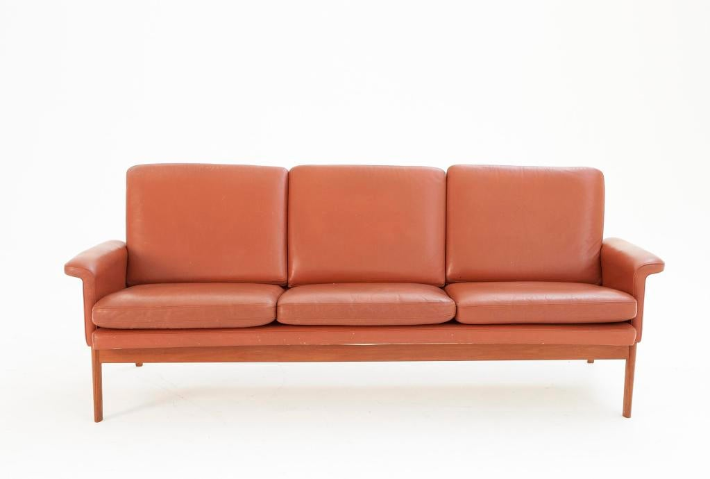 Finn Juhl 3 Seater Sofa With 39 Rusty 39 Orange Leather And Teak At 1stdibs