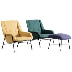 Set of Two Lounge Chairs by Alfred Hendrickx, 1950s