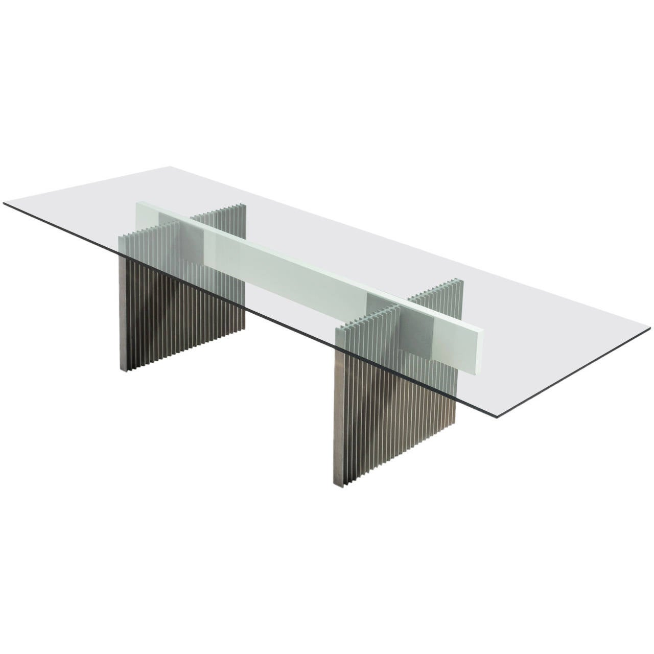 Large dining conference table with glass and metal base Metal table base