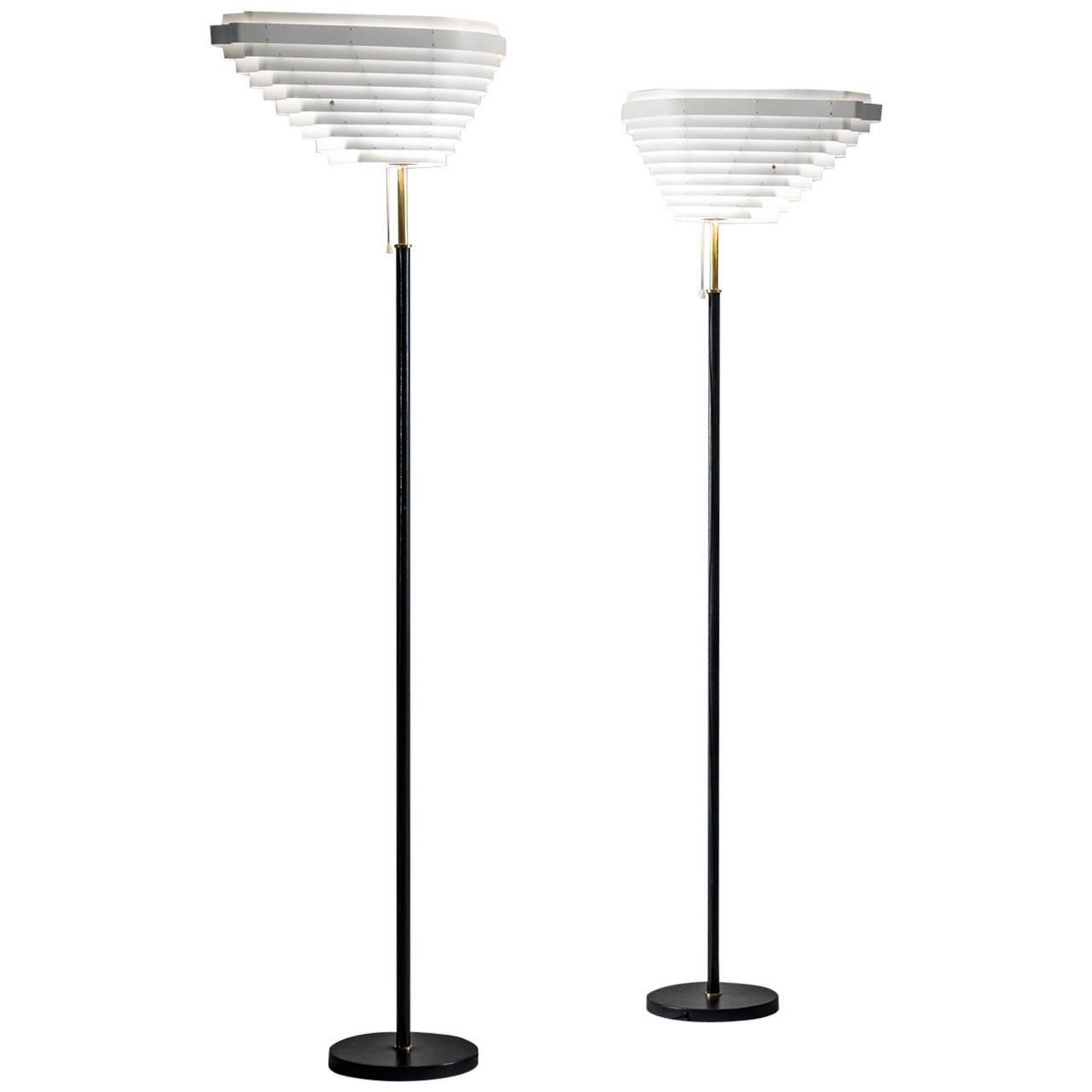 "Alvar Aalto Pair of Angel's Wing ""A805"" Floor Lamps for Valaisinpaja Oy"