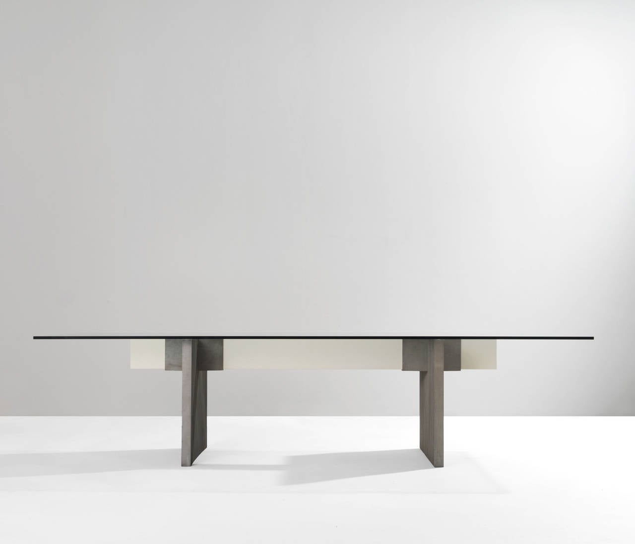 Large Dining Conference Table With Glass And Metal Base For Sale At 1stdibs