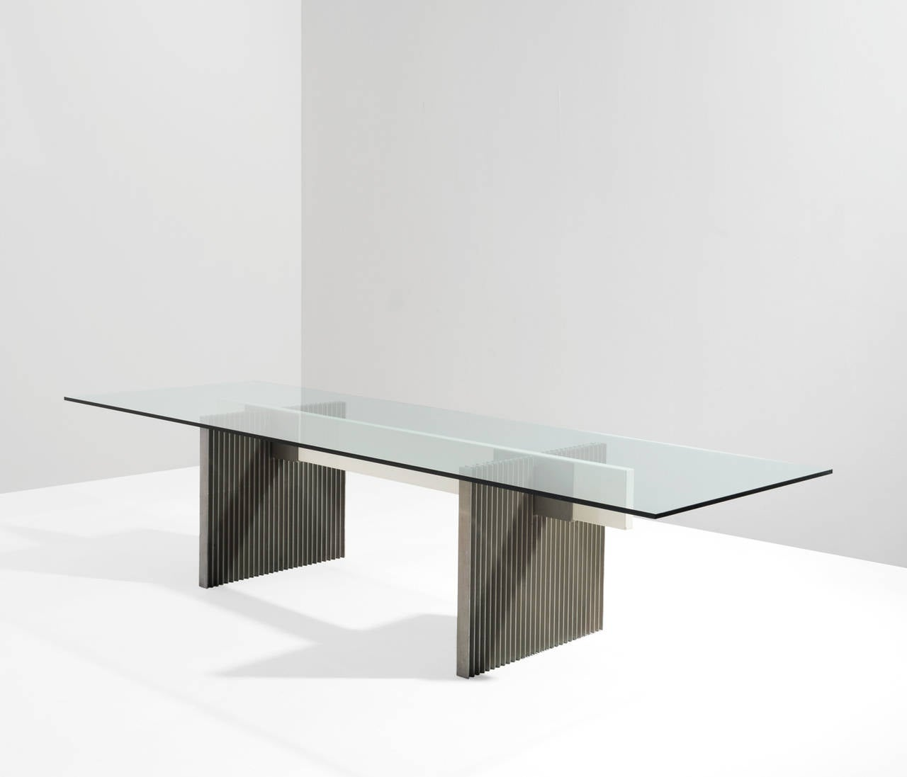 Dining Room Table Bases Metal: Large Dining / Conference Table With Glass And Metal Base