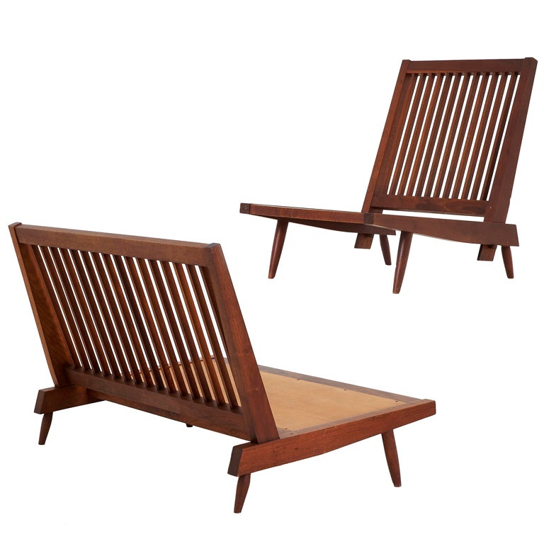Walnut Armless Settee And Chair By George Nakashima At