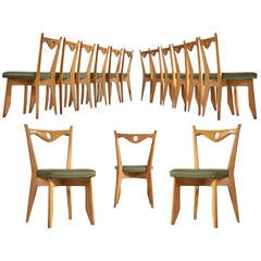 Large Set of Dining Chairs in Solid Oak by Guillerme et Chambron