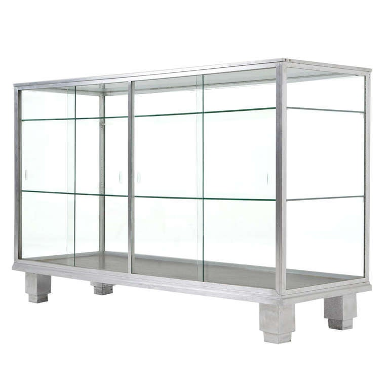 Art Deco Aluminum and Glass Showcase