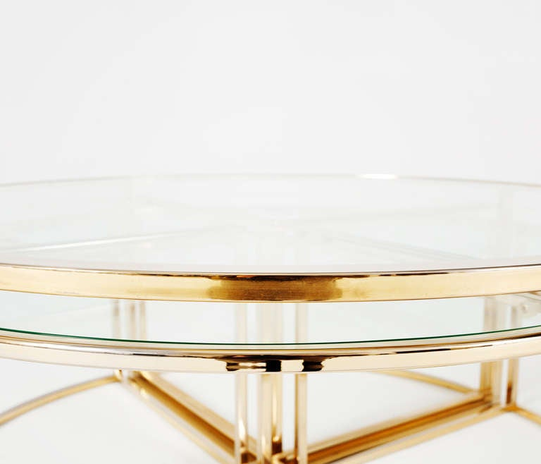 Unique Round Brass Coffee Table With 4 Accompanying Nesting Tables At 1stdibs