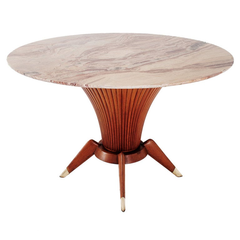 Unique Wooden Table Base With Detailed Marble Top And